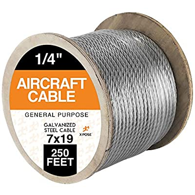 """7 x 19 Galvanized Steel Aircraft Cable Wire - 1/4"""" - 250' Reel - 7,000 lb Break Strength Rope for Pulley System or Winch Loop - Marine Wire, Cable/Deck Railing, Fencing, Zipline - Xpose Safety"""