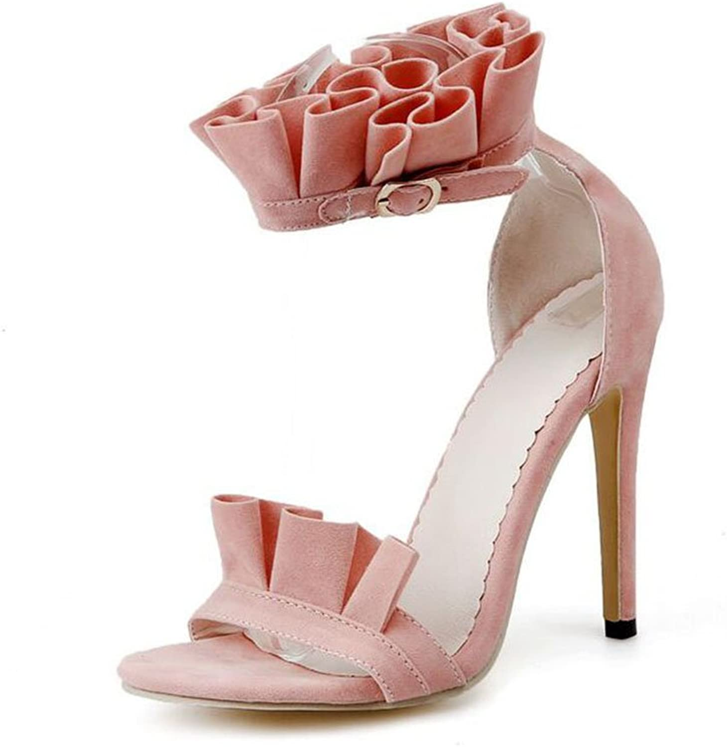 Women's shoes Suede Summer Comfort Sandals Ruffled High-Heeled Sandals for Casual Yellow Black orange Pink Sandals