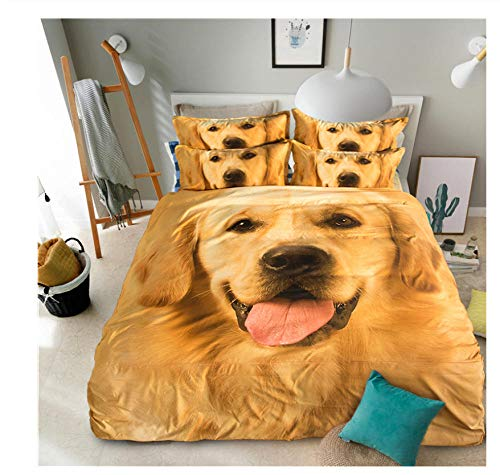 YCMFVG Bedding Set Double Bed 3D Printing Golden Retriever Dog 3Pcs Polyester Duvet Cover And Pillowcases Zipper Closure Anti Allergic 200X200Cm