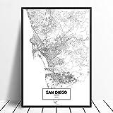 Leinwanddruck,San Diego Kalifornien Schwarz Weiß