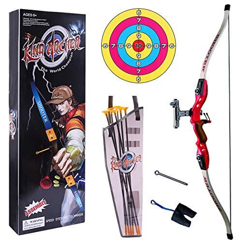 BANDRA Pfeil und Bogen Set Kinder Bogenschießen Training Spielzeug Zielscheibe Outdoor Schießspiele mit 6 Starken Saugnapfpfeilen