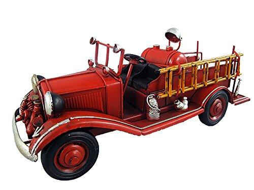 Deko Feuerwehr Wagen Blech Auto Modell Retro Vintage Nostalgie Länge 26,5 cm