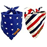 Realeaf 2 Pack American Flag Dog Bandana for Small Dog,Premium Durable Fabric,Multiple Sizes Offered,4th of July Dog Bandana for Girl or Boy
