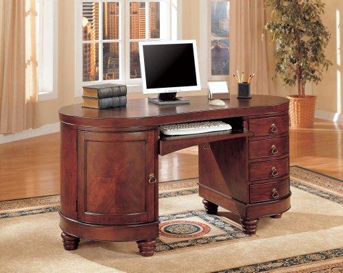 Hot Sale Brown Cherry Finish Kidney Shape Office Computer Desk