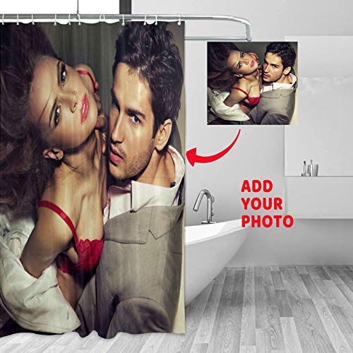 Custom Shower Curtain, Decorative Personalized Shower Curtain, Add Your Own Designs Photo, Text, Logo, Polyester Waterproof Curtain with Hooks for Bathroom 55'' X 72''