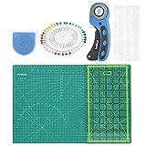 OFNMY Kit de 78pcs con A3 Alfombrilla de Corte + Cúter Rotativo de 45mm + Cuchilla de Repuesto de 45mm + Patchwork de Regla + Abrazadera de Plástico + Alfileres