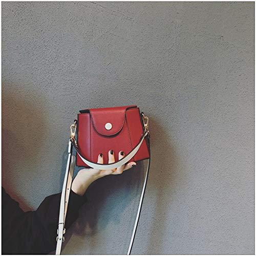 Générique Sacs Femme Sacs Mode Messenger Sacs Style Occidental Wild Leather Handbag Sacs à bandoulière-Rouge +