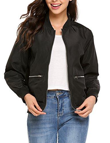 Beyove Women Winter Windbreaker Zipper Jacket Oversize Coat Outerwear Black