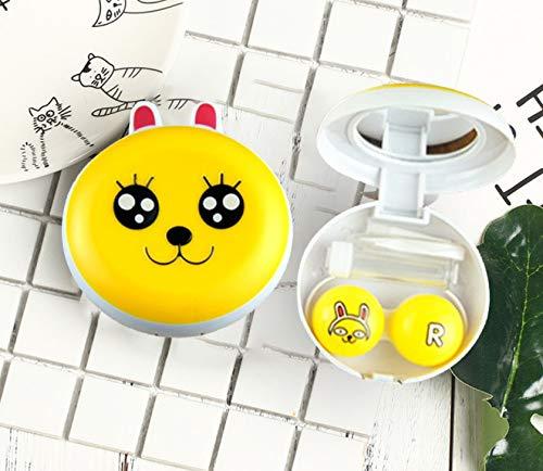 brandyjacksonq Round Contact Lens Case Myopia Beauty Box Invisible Mate Box Transparent Portable (Yellow)