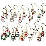 Naler 10 Pares de Aretes Colgantes de Navidad Pendientes Colgantes de Gota 10 Estilos Joyas Decoración
