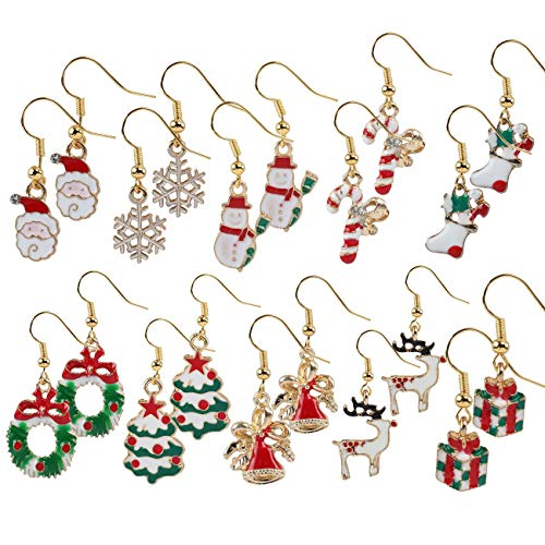 Naler 10 Paar Ohrringe Weihnachten Schmuck für Advendkalender