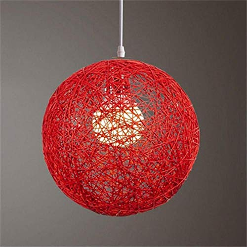 FICI Ronde lampenkap Handgeweven Rattan Vine Ball Hanglamp Lampenkap Lampenkappen Licht Accessoires decoratie, Rood