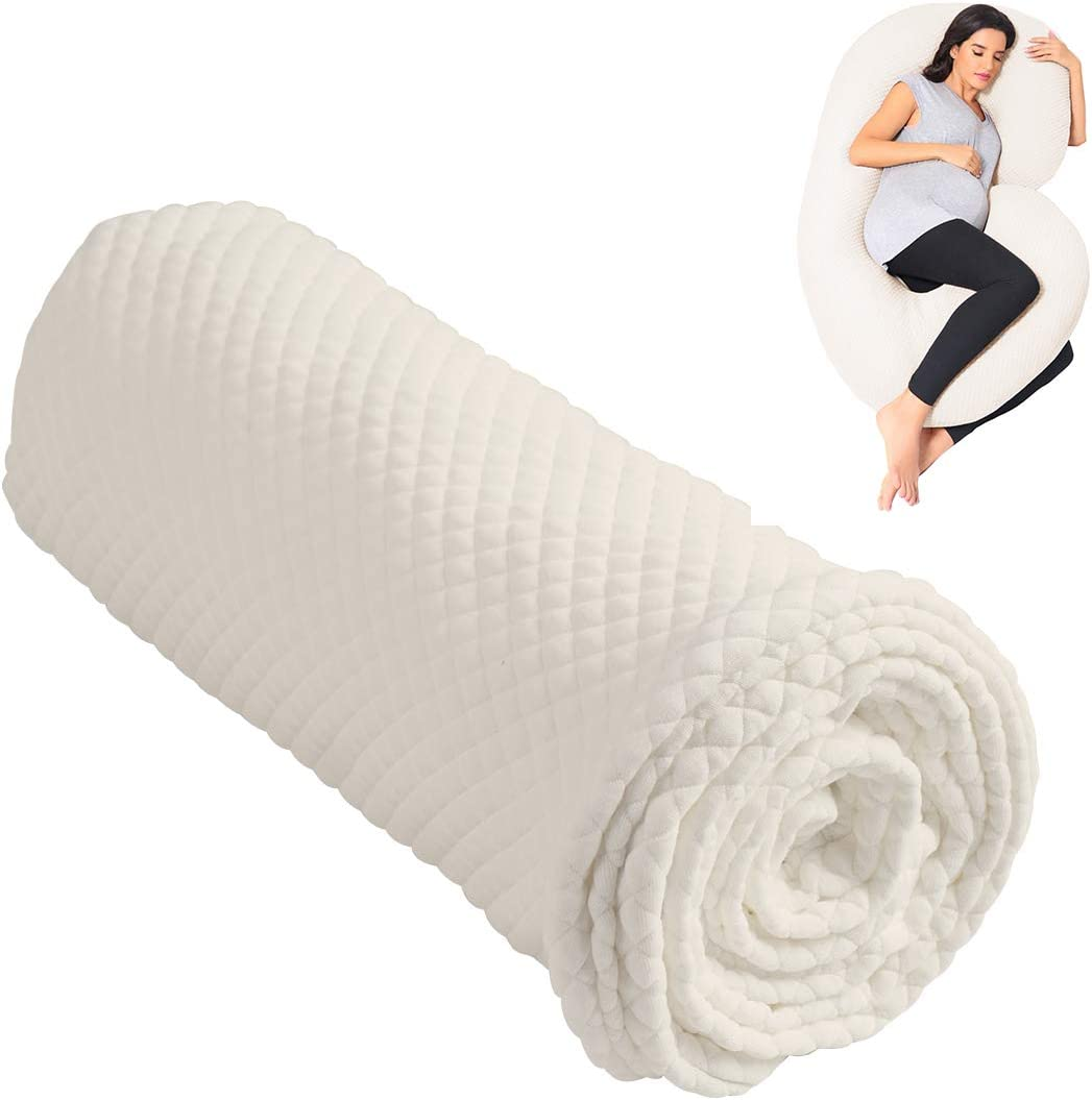 Summer Mae Pregnancy Pillow Replacement Cover, Cotton Double Removable Cover C Shaped Beige