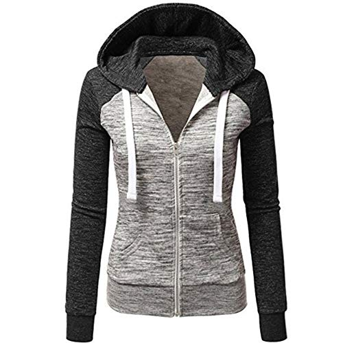 Newbestyle Women's Casual Color Block Zip Up Hoodie Jacket with Pocket