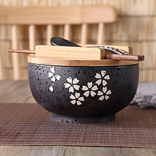 XKMY Ramen Bowls Cuenco de fideos de arroz estilo japonés con tapa, cuchara y palillo de cocina, vajilla de cerámica, ensalada, sopa, recipiente de alimentos, vajilla (color : tazón A)
