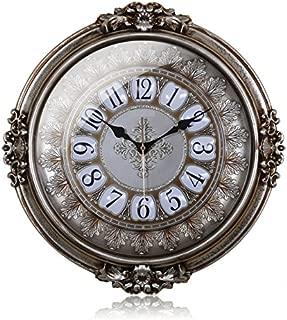 The 20 inch single European mute living room wall clock round clock watch watch pendulum fashion bedroom Restaurant,Gold beige
