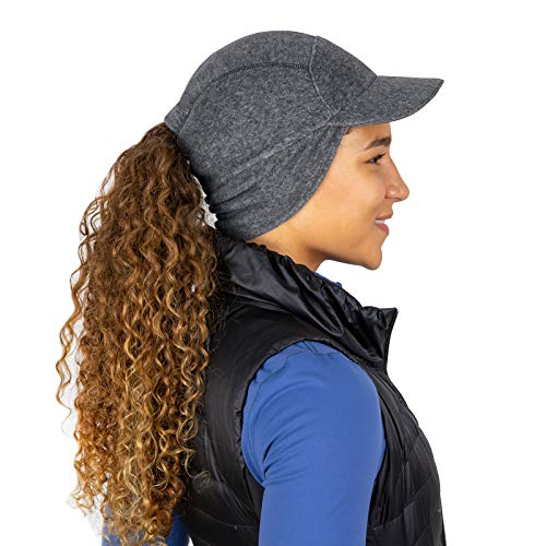 TrailHeads Fleece Ponytail Hat with Drop Down Ear Warmer | The Trailblazer Adventure Hat for Women (Heather Grey)