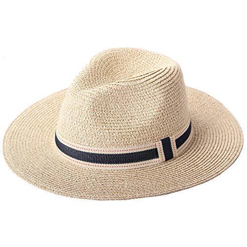 RIONA Damen Breiter Rand Strohhalm Panama Roll-Up Hut Fedora Strand Floppy Sonnenhut Sommer Upf50+ (Beige)