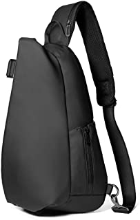 Sling Bag Chest Shoulder Backpack Crossbody Bags for Men WomenTravel Outdoors Business (Color : Black, Size : M)