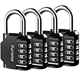 Puroma 4 Pack Combination Lock 4 Digit Outdoors Padlock for School Gym Locker, Sports Locker, Fence, Toolbox, Case, Hasp Storage (Black)