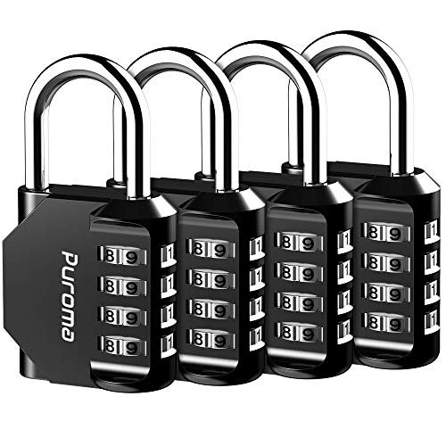 Puroma 4 Pack Combination Lock 4 Digit Outdoor Waterproof Padlock for School Gym Locker, Sports Locker, Fence, Toolbox, Gate, Case, Hasp Storage (Black)