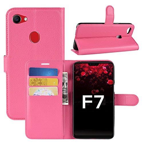 HualuBro Oppo F7 Hülle, Premium PU Leder Leather Wallet HandyHülle Tasche Schutzhülle Flip Hülle Cover mit Karten Slot für Oppo F7 Smartphone (Rose)