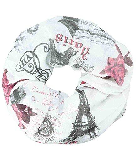 Caripe Loop-Schal Städte-Print Paris London New York Berlin Schlauchschal Damen Herren Halstuch Mode-Accessoire Geschenk – sh2 (Paris - Rose)