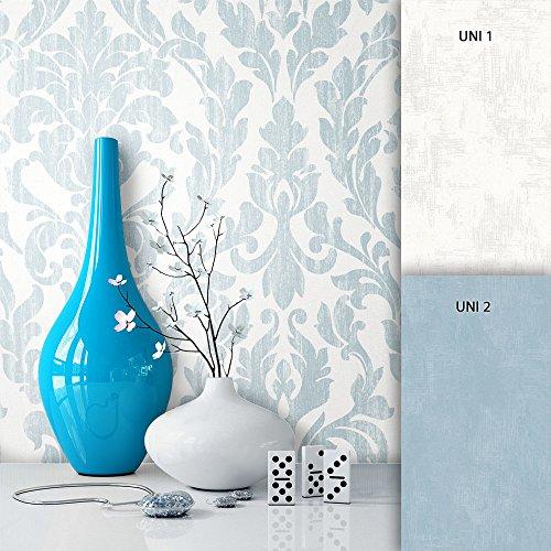 NEWROOM Barocktapete Tapete Beige Ornament Barock Vliestapete Blau Vlies moderne Design Optik Barocktapete Wohnzimmer Landhaus inkl. Tapezier Ratgeber