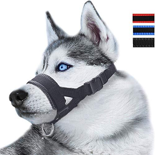ILEPARK Maulkorb aus Nylon um Hunde vom Beisen, Bellen und Kauen abzuhalten, anpassbare Schlinge (S,Schwarz)