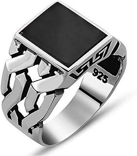 خاتم فضة للرجال مع حجر مرمر اسود فضة استرلينية 925، تصميم تركي من كيمودا، خواتم مصنوعة يدويا للرجال