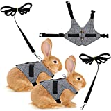 2 Pieces Rabbit Vest Harness and Leash Set Adjustable Formal Suit Style Adjustable Soft Bunny Harness for Bunny Rabbit Kitten Small Animal Walking