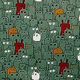 Verhees Nickistoff Nicky Spooky, Green 50x150 cm Meterware