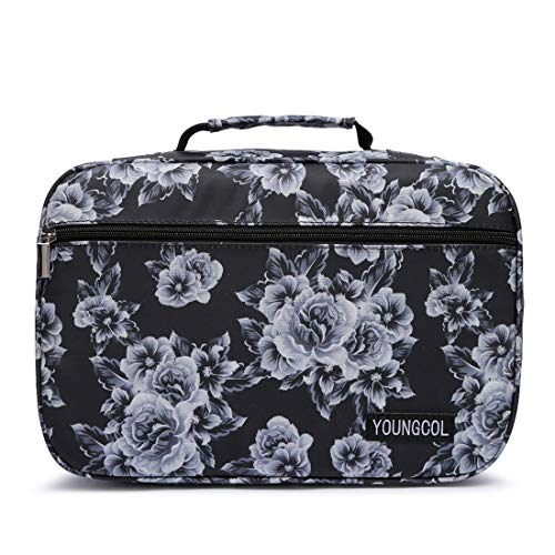 Colored Pencil Organizer Case Holds 240 Pencils or 160 Gel Pens Large Capacity Slots Pencil Holder (Black & White flower)