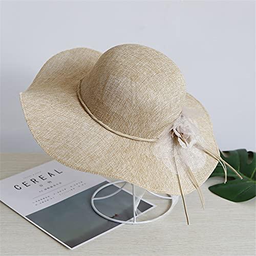 Sun hat Summer Vintage Large Hats Eaves Straw half Gorgeous Women Flowers