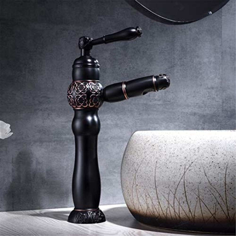 Wasserhahn Waschtischmischer Schwarz Bronze Ziehen Und Unten Bad Wasserhahn Spüle Wasserhahn Wc Mixer Vintage Carving Tap Heies Kaltes Wasser