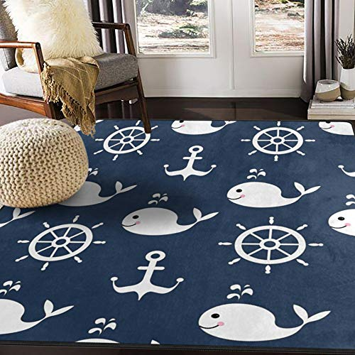ALAZA Retro Cartoon Whale Anchor Area Rug Rugs for Living Room Bedroom 7' x 5'