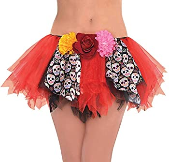 Suit Yourself Day of the Dead Tutu for Adults One Size up to Women s Size 8 Features Sugar Skull Panels and Flowers