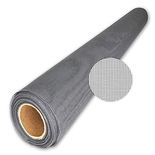 TESO - Moustiquaire en gaze - Protection anti-insectes - Tissu en fibre de verre transparent, résistant aux UV, vendu au mètre - 200 cm, gris