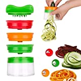 Bluelliant Cortador Espiral Verduras Espiralizador Vegetal para Espaguetis De Calabacin Rallador Cocina a Mano con 3 Cuchillas Cortador de Pepinos