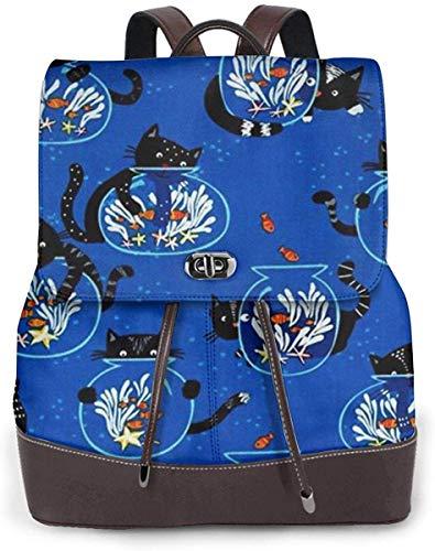 Flyup Damen PU Leder Rucksack Cat And Fish Tank Women Backpack Leather Backpack For Women Ladies Shoulder Bags Schoolbag Casual Daypack Backpack
