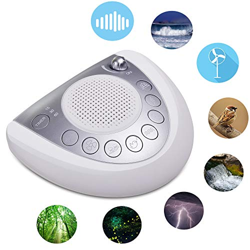 Onlyee White Noise Machine - Sleep Sound Machine with 8 Natural Soothing Sounds for Sleeping, Battery or AC Powered, Auto-Off Timer, USB Port, Headphone Jack for Home, Office, Baby, Adults & Travel