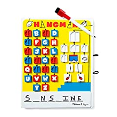 GUESSING GAME: Kids will love playing this classic word game with a twist! NO LOOSE PIECES: This travel-friendly wooden word game includes an erasable whiteboard, a self-storing dry-erase marker, and eraser. PLAY AND LEARN: This wooden word game enco...