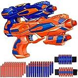 Qaxlry Blaster Gun,2 Pack Foam Bullet Toy Gun with 60pcs Refill Soft Foam Darts & 2 Wrist Bands for 3, 4, 5, 6, 7, 8 ,9,10 Kids Christmas Birthday Gifts