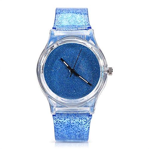 Orologio da polso, orologio da polso al quarzo da donna a 3 colori, cinturino in plastica rotonda con brillantini(3#)