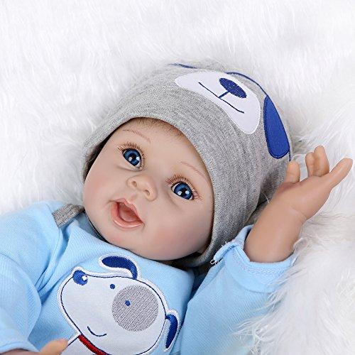 Muñeco Reborn Bebé Cuerpo Silicona Boneca con Ropa Azul