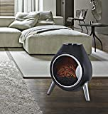 Garden Mile® Portable 1.8Kw Black Retro Oval Log Burner Electric Fire Stove Free Standing Realistic Flame Effect Insert Fire Heater Wood Burner 2 Heat Settings Opening Door Freestanding Heater