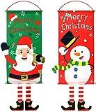 Bandera Colgante de Navidad Decoración - ZSWQ 2Pcs Bandera de Navidad para Pared 40 * 80cm Colgantes Navideños para Puertas, Bandera Colgante de Papá Noel para Pared Puerta y Ventana (Rojo y verde)