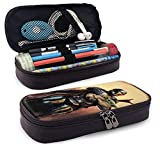 Movie Star Wars Mandalorian Pencil Case PU Leather Pen Cases Pouch Holder Stationery Cosmetic Makeup Double Zipper Bag for Igh/Middle/Junior/Elementary/Preschoolers/Student