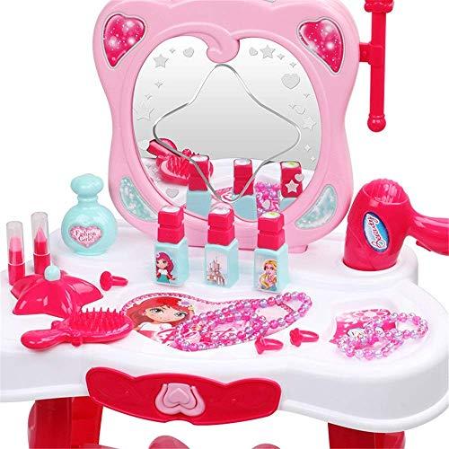 ouruanyang Tocador para nios Tocador para nia Juguete Little Linger Simulacin Casa de Juegos para nios Princesa Caja de Maquillaje Juguete para tocador para nios (Color: Pink, Size: 67X44X28CM)