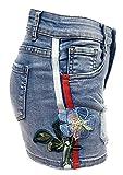 Laphilo - Pantalones vaqueros cortos vaqueros para mujer con decoración de flor bordada, bandas laterales de colores y correas (V851) turquesa S